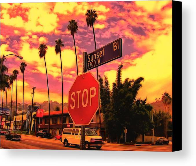 Sunset Canvas Print featuring the digital art Sunset 7700w by Leigh Kemp