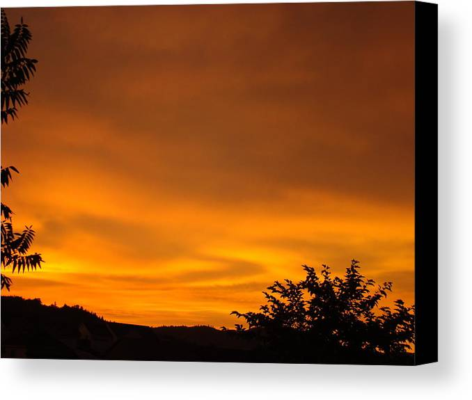 Sunset Canvas Print featuring the photograph Sunset Art Prints Orange Glowing Western Sunset Baslee Troutman by Baslee Troutman