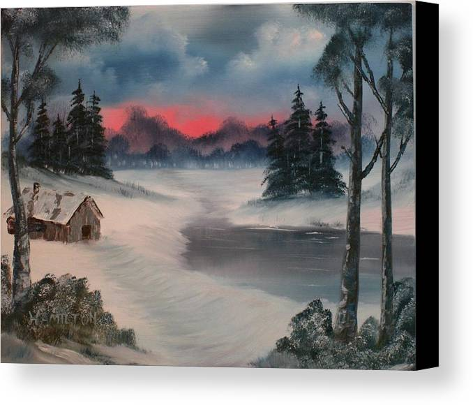 Oil Canvas Print featuring the painting Sunset By The Lake by Larry Hamilton