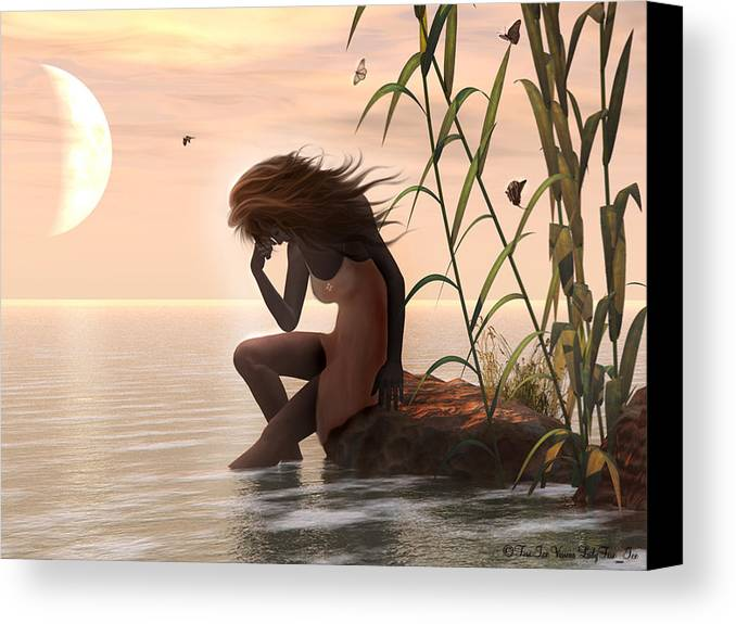 Digital Art Canvas Print featuring the digital art Sunset Mourning by Linda Ebarb