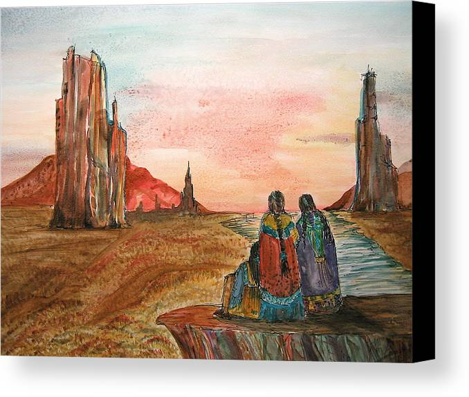 Original Art Canvas Print featuring the painting Sunset On The Mesa by K Hoover