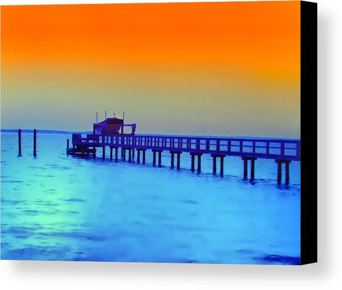 Florida Canvas Print featuring the photograph Sunset On The Pier by Bill Cannon