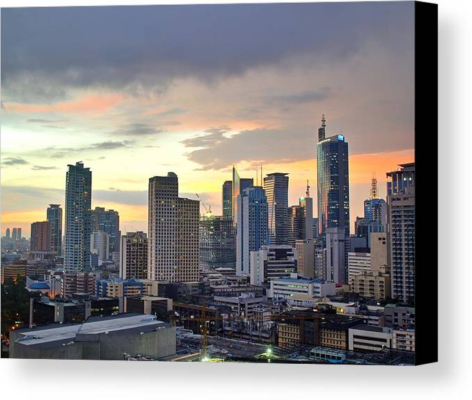 Horizontal Canvas Print featuring the photograph Sunset Over Makati City, Manila by Neil Howard