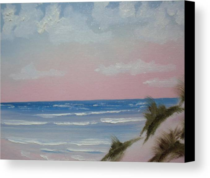 Landscape Oil Beach Canvas Print featuring the painting Surfside by Warren Thompson