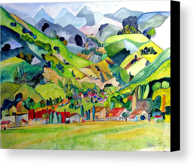 Landscape Canvas Print featuring the painting Switzerland by Patricia Arroyo