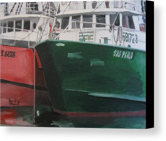 Boat Canvas Print featuring the painting T Luis by David Poyant Paintings