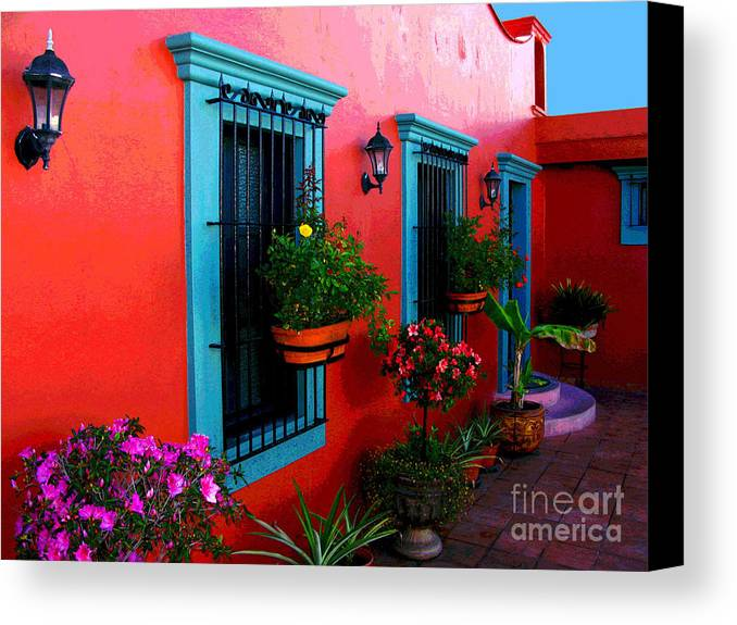 Darian Day Canvas Print featuring the photograph Terrace Windows At Casa De Leyendas By Darian Day by Mexicolors Art Photography