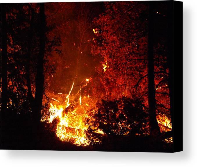 Fire Canvas Print featuring the photograph That Ain't No Campfire by DeeLon Merritt