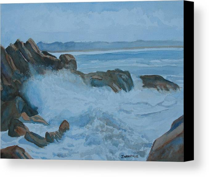Breakers Canvas Print featuring the painting The Breakers Below Yaquina Head I by Jenny Armitage