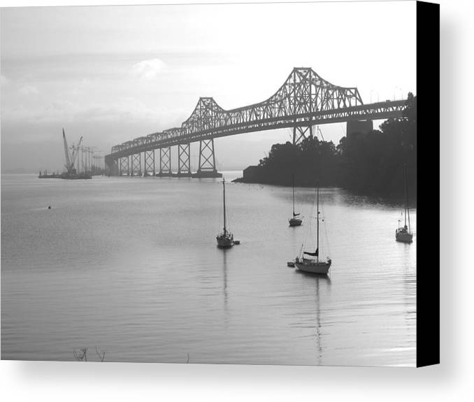 Bridges Canvas Print featuring the photograph The Bridge Is Coming by Jerry Patchin