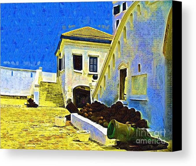 Slave House Canvas Print featuring the painting The Cannon Section by Deborah Selib-Haig DMacq