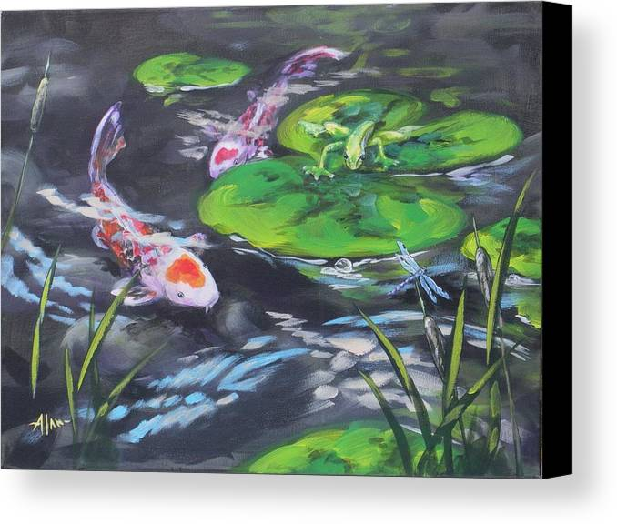 Koi Fish Frog Dragonfly Water Waterscape Lily Pad Pond Cattails Green Blue Red White Nature Canvas Print featuring the painting The Drag Race by Alan Scott Craig