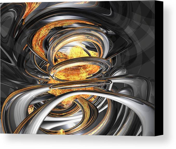 3d Canvas Print featuring the digital art The Fire Within Abstract by Alexander Butler