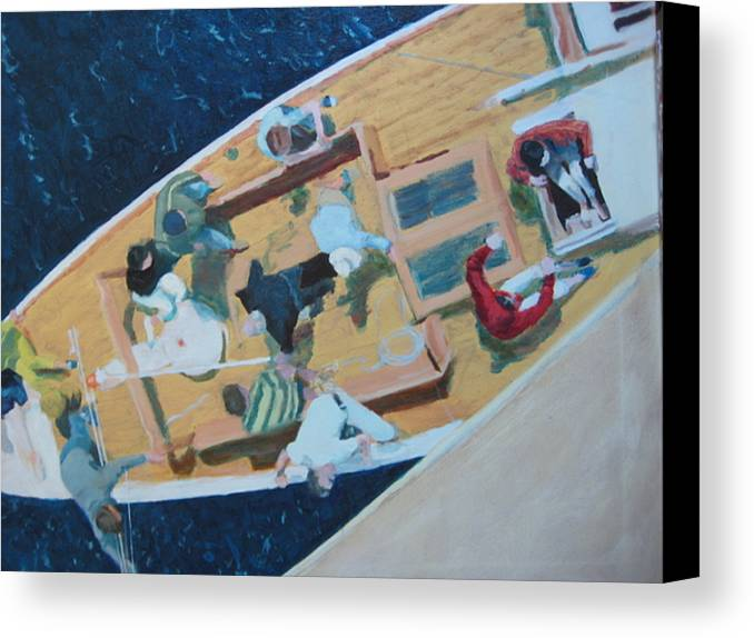 Sailboat Canvas Print featuring the painting The Grissette by Brian McCoy