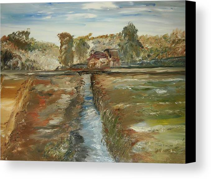 Landscape Canvas Print featuring the painting The Irrigation Canal by Edward Wolverton