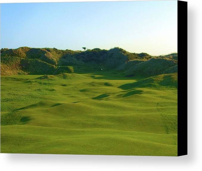 The Island Golf Club Dublin Ireland Par 4 Fairway Dunes Beach Grass Links Golf Course Bunkers Irish Golfing Old Design Fescue Wind Pin Flag White Huge Sand Dunes Photo Photograph Image Picture Hole #5 Five 5th Number Blind Tee Shot Print Prints Shot Fescue Rough For Sale Art Prints Print Fine East Coast Sea Sand Ocean Water Humps Bumps Canvas Print featuring the photograph The Island Golf Club - Hole #5 by Scott Carda