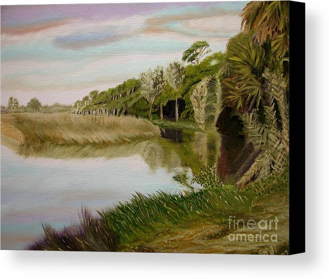 Landscape Canvas Print featuring the painting The Loop by Sodi Griffin