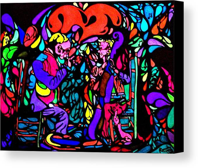 Musicians Canvas Print featuring the painting The Musicians by YoMamaBird Rhonda
