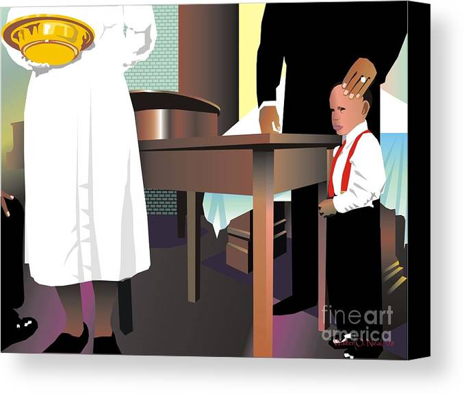Church Canvas Print featuring the digital art The Offering by Walter Oliver Neal