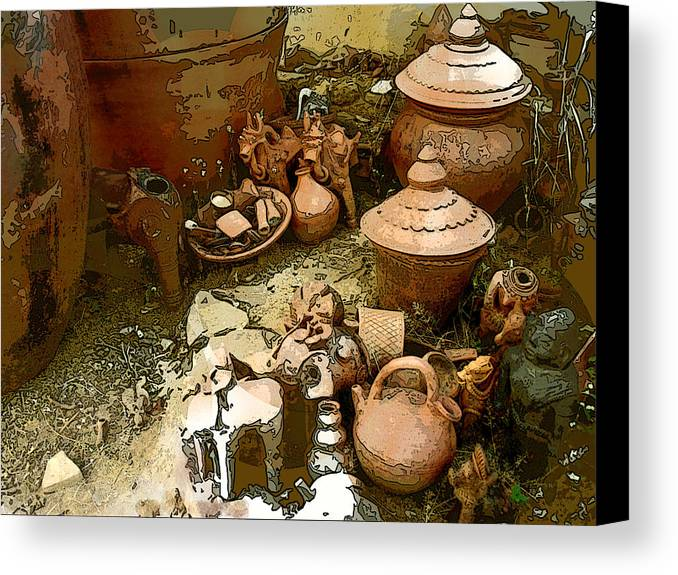 Pots Canvas Print featuring the photograph The Potters World by Padamvir Singh