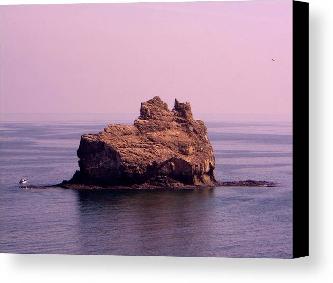 Seascapes Canvas Print featuring the photograph The Rock by Sunaina Serna Ahluwalia