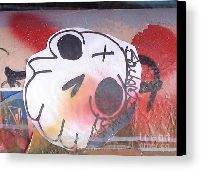 Urban Art Canvas Print featuring the photograph The Smiling Skull by Chandelle Hazen