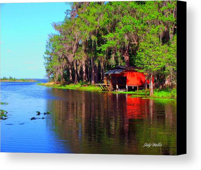 Lake Canvas Print featuring the photograph The View From The Bench by Judy Waller
