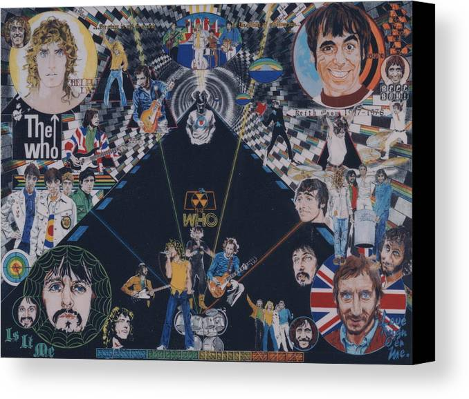 Pete Townshend;roger Daltrey;john Entwistle;keith Moon;quadrophenia;opera;story;four;music;guitars;lasers;mods;rockers;london;brighton;1964 Canvas Print featuring the drawing The Who - Quadrophenia by Sean Connolly