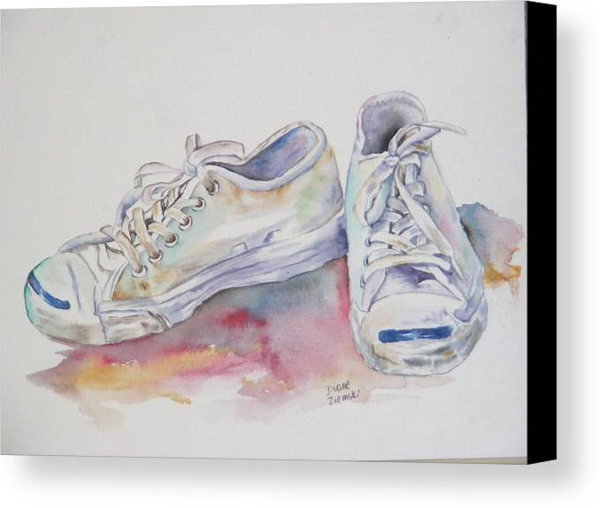 Canvas Print featuring the painting They Were White by Diane Ziemski