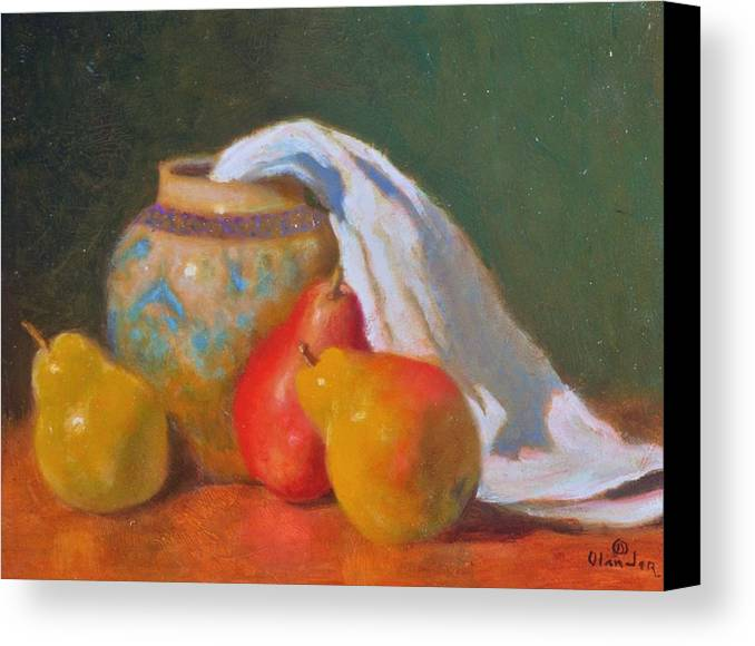 Still Life Impression Canvas Print featuring the painting Three Pears With Persian Vase by David Olander