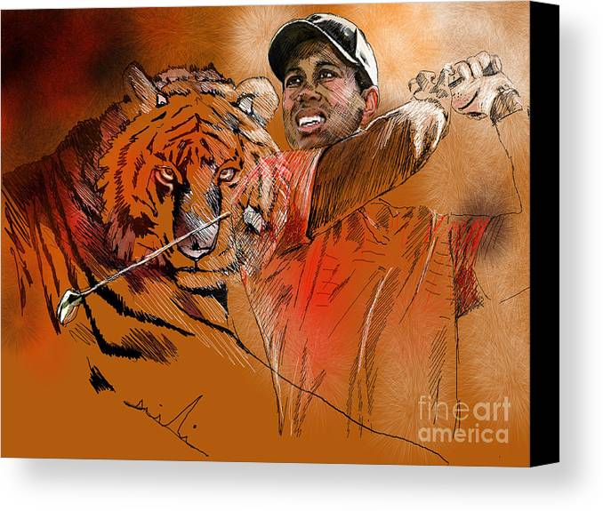 Golf Art Painting Portrait Tiger Woods Aninla Tiger Canvas Print featuring the painting Tiger Woods Or Earn Your Stripes by Miki De Goodaboom