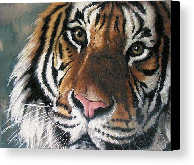 Tiger Canvas Print featuring the pastel Tigger by Barbara Keith