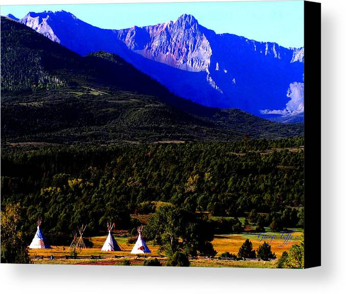 Landscape Tipi Telluride Colorado Mountains Beauty Scenic Canvas Print featuring the photograph Tipis by George Tuffy