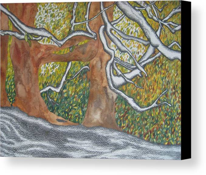 Trees Canvas Print featuring the painting Trees by Theodora Dimitrijevic