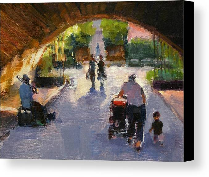 Urban Landscape Canvas Print featuring the painting Tunnel In Central Park by Merle Keller