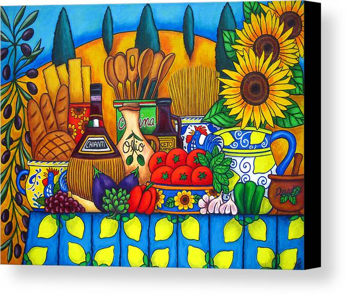 Still Life Canvas Print featuring the painting Tuscany Delights by Lisa Lorenz