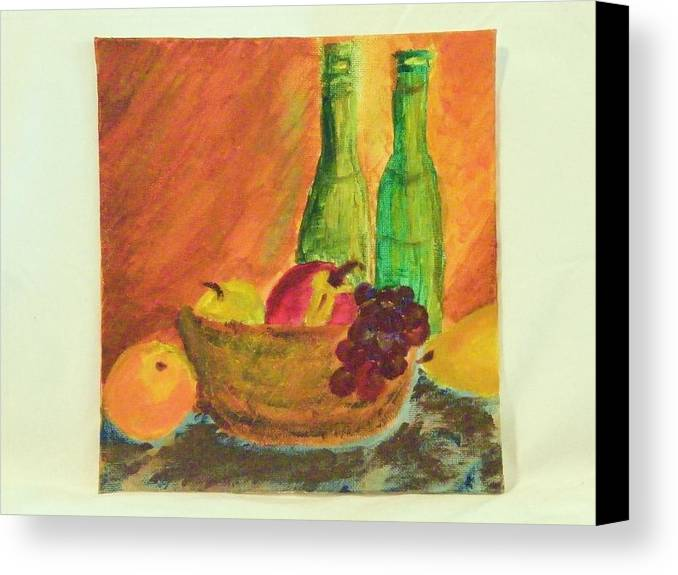 Still Lifes Canvas Print featuring the painting Tuscany Lunch by Margaret G Calenda