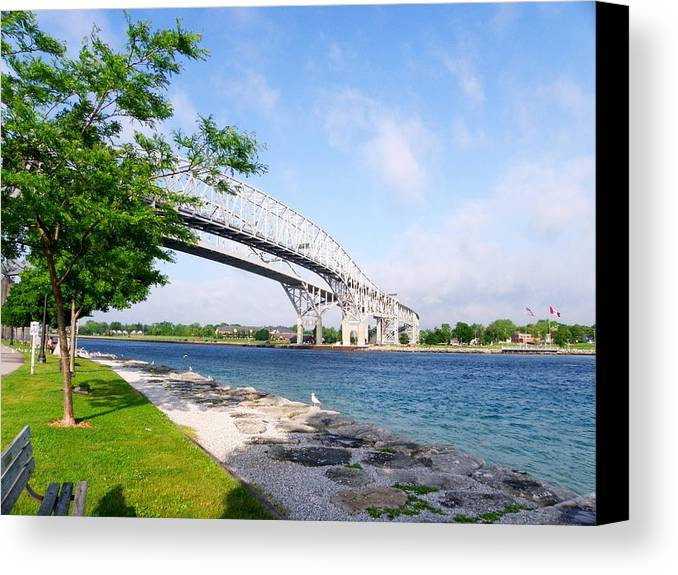 Bridge Canvas Print featuring the photograph Twin Bridges by Peggy King