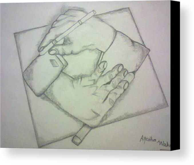 Two Hands Canvas Print featuring the drawing Two Hands by Saad Dilawer
