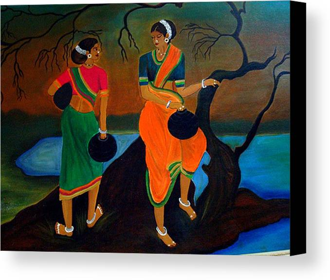 Filling Water Canvas Print Featuring The Painting Two Indian Ladies On River Side By