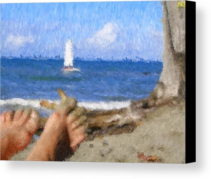Canvas Print featuring the painting Vacation by Jonathan Galente