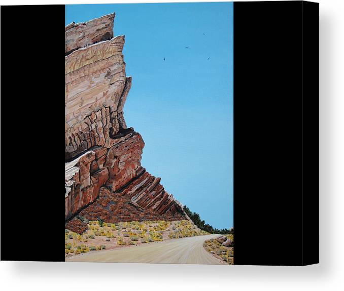 Rocks Canvas Print featuring the painting Vasquez Rocks 3 by Stephen Ponting