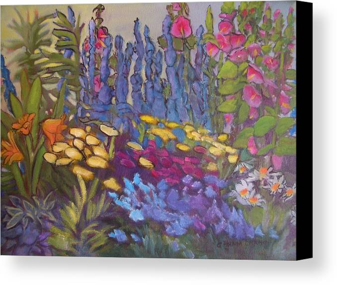 Oil Painting Canvas Print featuring the painting Vic Park Garden by Carol Hama Chang