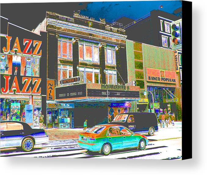 Harlem Canvas Print featuring the photograph Victoria Theater 125th St Nyc by Steven Huszar