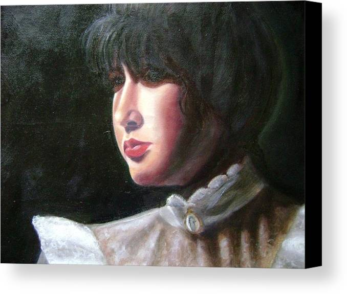 Girl In White Blouse Canvas Print featuring the painting Victorian Blouse by Toni Berry
