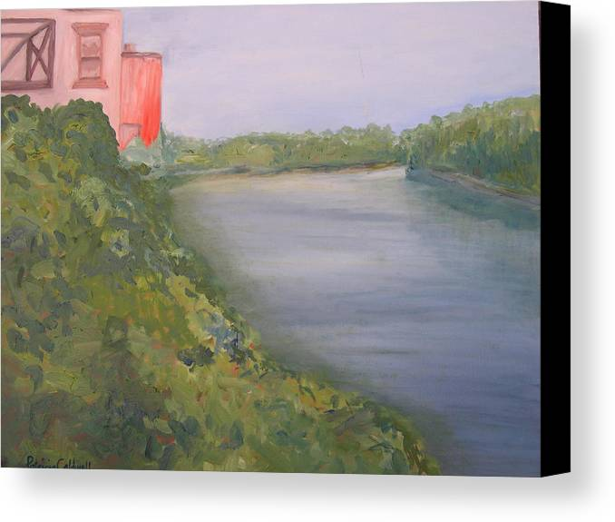 Landscape River Water Nature Canvas Print featuring the painting View From Edmund Pettus Bridge by Patricia Caldwell