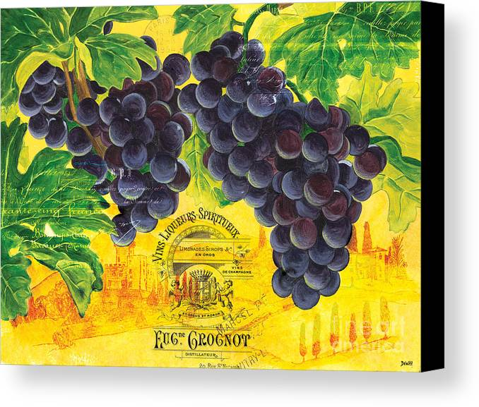 Grapes Canvas Print featuring the painting Vigne De Raisins by Debbie DeWitt