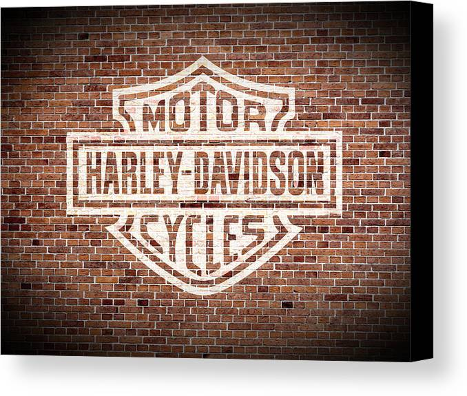 Harley Davidson Wall Decor vintage harley davidson logo painted on old brick wall canvas