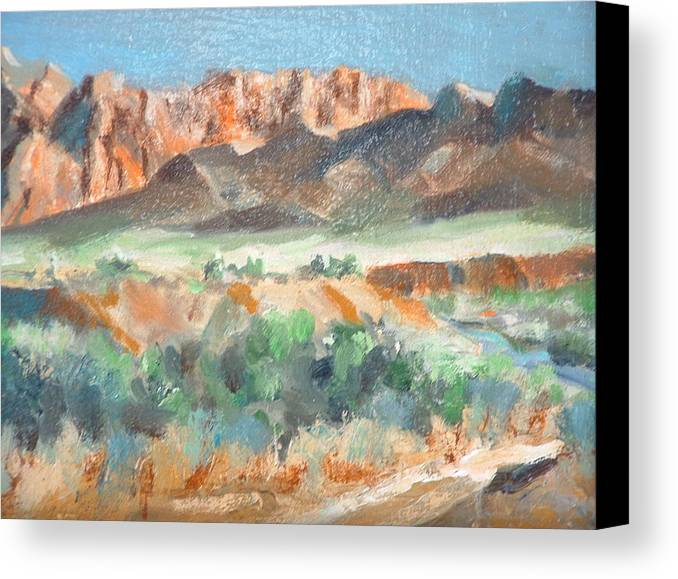 Landscape At First Light Virgin River Gorge Mesquite Canvas Print featuring the painting Virgin River Gorge by Bryan Alexander