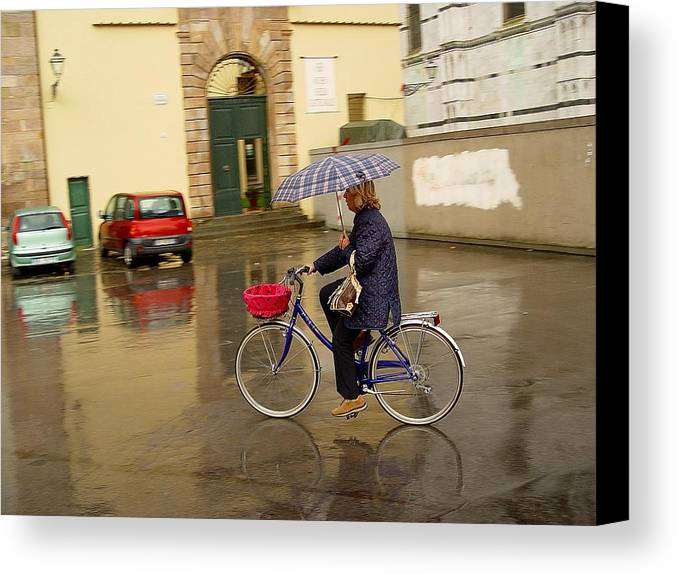 Lady On Bicycle Canvas Print featuring the photograph Visions Of Italy Lucca by Nancy Bradley